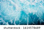 Bright Blue Sea Foam. Marine...