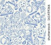 illustration of pizza doodles ...   Shutterstock .eps vector #161459366