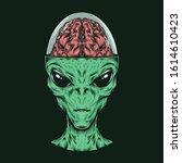 Hand Drawing Vintage Alien Hea...