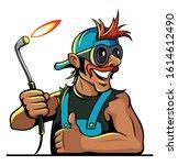cartoon style car mechanic with ... | Shutterstock .eps vector #1614612490