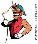 cartoon style car mechanic with ... | Shutterstock .eps vector #1614612496