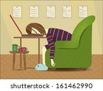 woman sleeping on a notebook ... | Shutterstock .eps vector #161462990