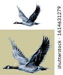 flying goose vector... | Shutterstock .eps vector #1614631279