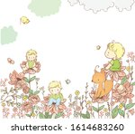 baby sits on a flower  floral... | Shutterstock .eps vector #1614683260