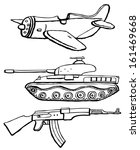 military plane  tank and gun | Shutterstock .eps vector #161469668