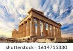 Parthenon Temple On A Sinset....