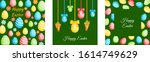 happy easter greeting cards set.... | Shutterstock .eps vector #1614749629