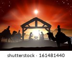 nativity christmas scene with... | Shutterstock .eps vector #161481440