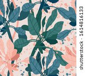 seamless hand drawn tropical...   Shutterstock .eps vector #1614816133