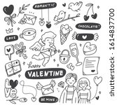 set of hand drawn valentines in ... | Shutterstock .eps vector #1614837700