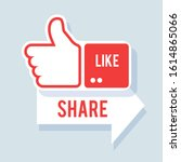 like and share icon. social... | Shutterstock .eps vector #1614865066