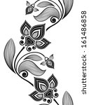 seamless black and white floral ... | Shutterstock .eps vector #161486858