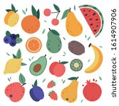 hand drawn fruits. doodle... | Shutterstock .eps vector #1614907906