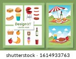 six designs of picnic scenes... | Shutterstock .eps vector #1614933763