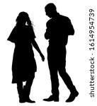 couple of young guy and girl.... | Shutterstock .eps vector #1614954739