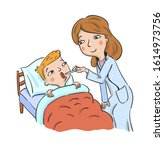 doctor examines sick boy lying... | Shutterstock .eps vector #1614973756