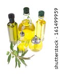 bottle of olive oil with raw... | Shutterstock . vector #161499959