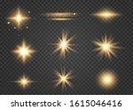 set of golden glowing lights...   Shutterstock .eps vector #1615046416