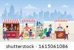 street food market flat color... | Shutterstock .eps vector #1615061086
