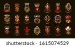 de lis and crowns vintage... | Shutterstock .eps vector #1615074529
