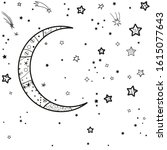 crescent moon and many stars... | Shutterstock .eps vector #1615077643