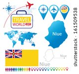 niue. flag. world map. travel... | Shutterstock .eps vector #161509538