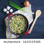 beef stroganoff top view on a...   Shutterstock . vector #1615119100