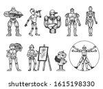 robots set sketch engraving... | Shutterstock .eps vector #1615198330