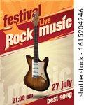 banner rock music with guitar | Shutterstock .eps vector #1615204246