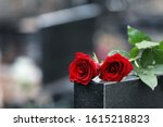 Red roses on black granite...