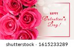 banner with roses and happy... | Shutterstock . vector #1615233289