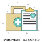 first aid kit and medical... | Shutterstock .eps vector #1615234510
