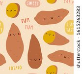 super cute sweet potato vector... | Shutterstock .eps vector #1615263283