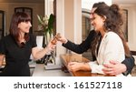 happy young couple at hotel... | Shutterstock . vector #161527118