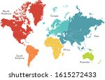 world map divided into six...   Shutterstock .eps vector #1615272433