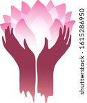 hands raised holding lotus...   Shutterstock .eps vector #1615286950