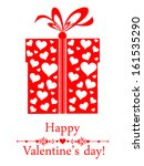 gift box with heart and ribbon... | Shutterstock .eps vector #161535290