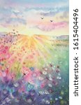 Watercolor beautiful rural landscape with sunrise and blossoming meadow. Purple, white flowers flowering on spring field. Happy new day concept. Vertical view, copy-space. Template for designs , card.