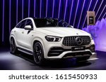 Small photo of Brussels, Belgium, Jan 09, 2020: all new Mercedes AMG GLE 53 4Matic+ at Brussels Motor Show, Fourth generation, W167, GLE-Class midsize luxury SUV produced by Mercedes-Benz