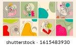 set of eight illustrations.... | Shutterstock .eps vector #1615483930