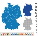 set outline maps of germany | Shutterstock .eps vector #1615595419