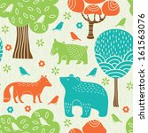 Forest animals seamless pattern