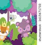 cute animals koala bear tiger... | Shutterstock .eps vector #1615671733
