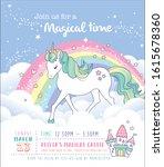 birthday party invitation card... | Shutterstock .eps vector #1615678360
