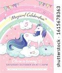 birthday party invitation card... | Shutterstock .eps vector #1615678363