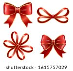 set of red bows made from... | Shutterstock .eps vector #1615757029