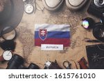 slovakia flag between traveler... | Shutterstock . vector #1615761010