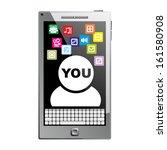 Black modern smartphone. vector - stock vector