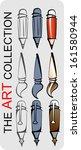 Pen tools, pencil handle brush. vector art set - stock vector