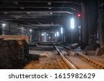 Big Empty Railway Tunnel With...